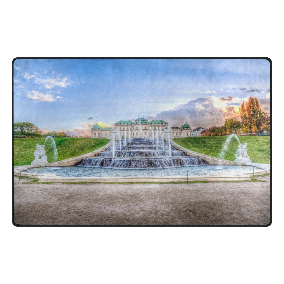 Jpopo Calm Clouds Fountain Area Rug Doormat 31'' L x 20'' W Non Slip Floor Rug Entrance Mat Indoor Bathroom Mats for Bathroom Dining Room Decorative