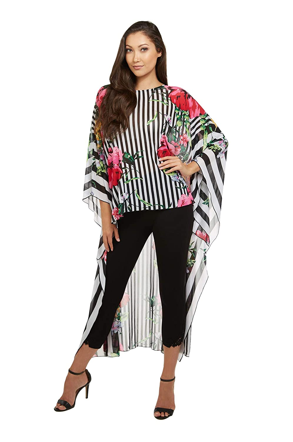 BlkStFloral Floral And Stripe Caftan Top