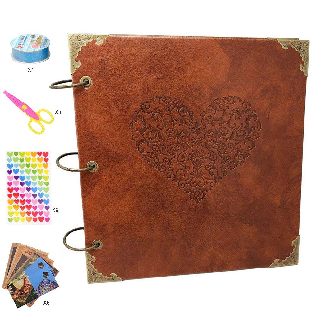 Guwheat Libro de recuerdos álbum de recortes hecho mano a mano hecho de bricolaje, Álbum de recuerdos adhesivo aniversario / Libro de fotos de boda con caja de regalo cf0ed8