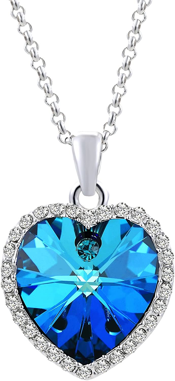 VEECANS Collar de Mujer con Colgante de Cristales Azul Swarovski, Extensión 45+5cm, Regalo para el Día de la Madre, Día de San Valentín y Navidad