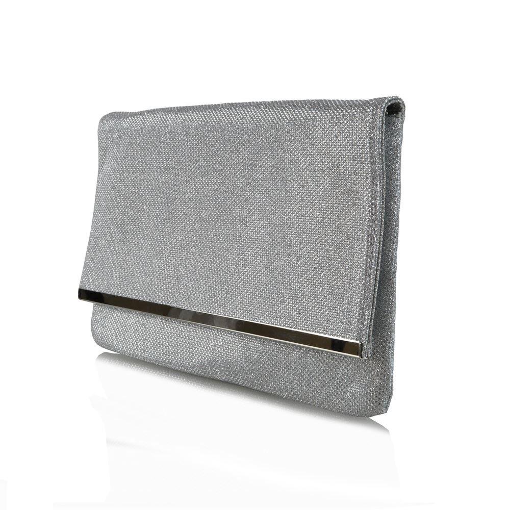 Essex Glam Womens Silver Glitter Clutch Bag Envelope Bridal Evening Purse Handbag