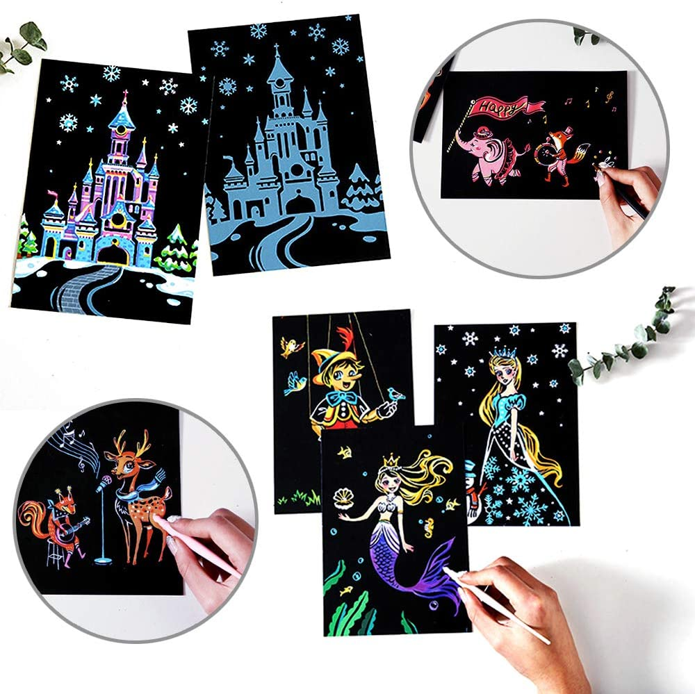 """Rainbow Painting Night View Scratchboard Painting Gift Craft Kits : 4 Pack 8 Tools Clean Brush Drawing Pen Bag Budapest//Malaysia//Tokyo//Seoul 16/""""x 11.2/"""" for Kids /& Adults Scratch /& Sketch Art"""