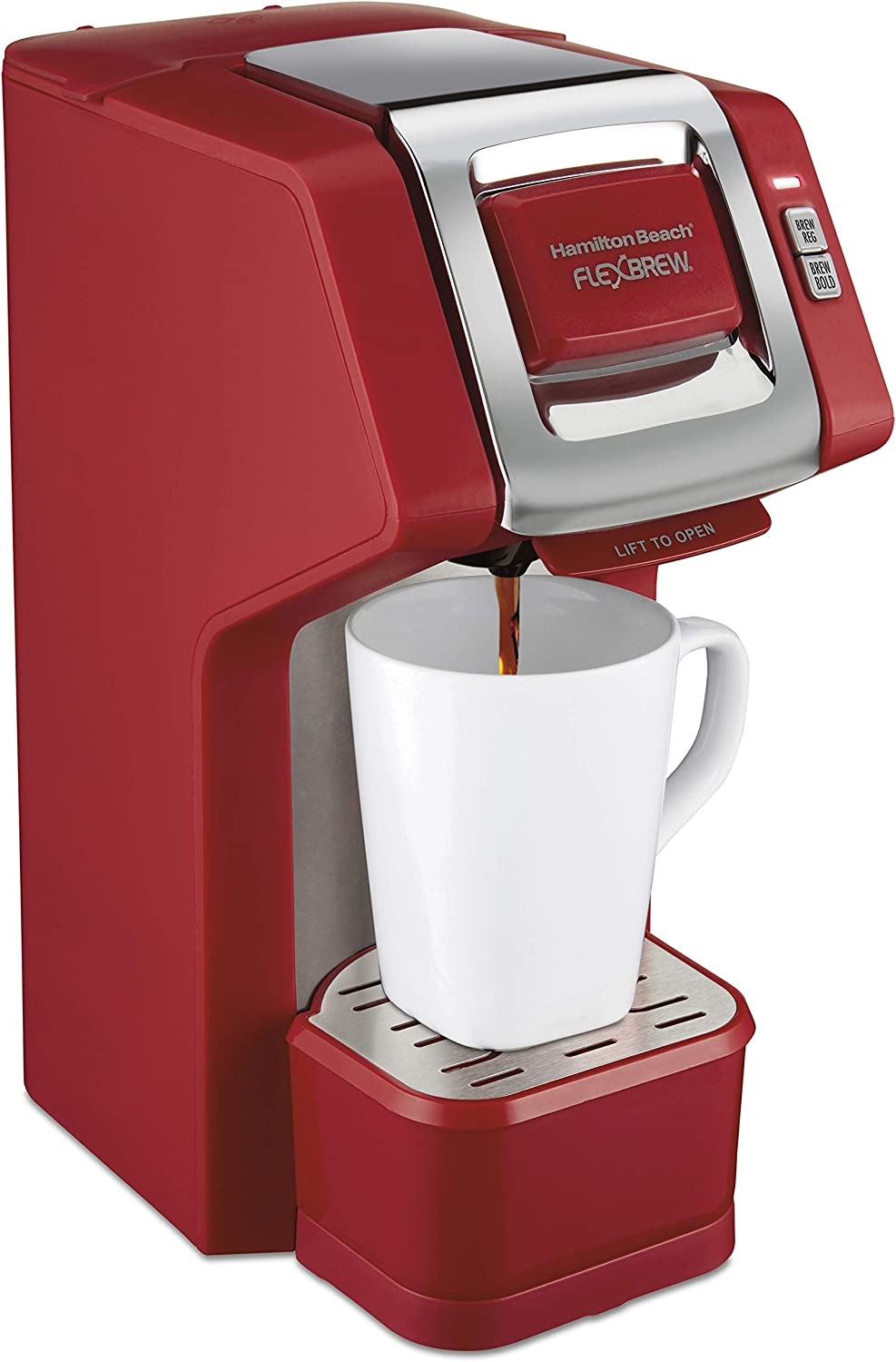 Hamilton Beach Single Serve Coffee Maker Compatible with K-Cup Pods or Grounds, Flexbrew with Adjustable Brew Strength, Red (49945)