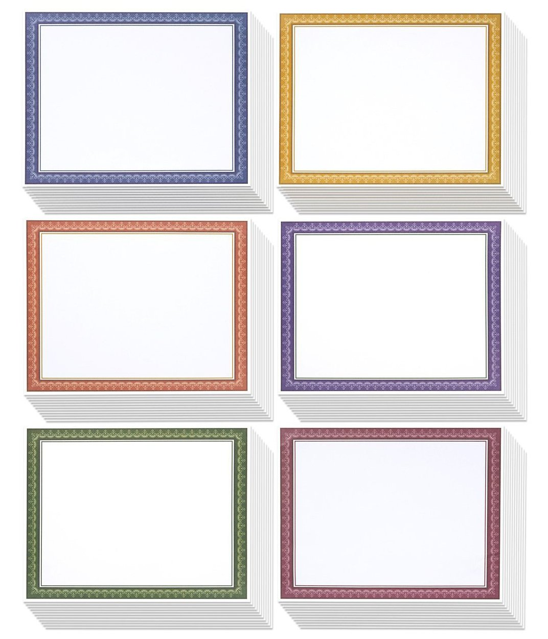 96 Pack Certificate Papers - 6 Different Assorted Colors, Gold, Amethyst, Rose, Blue, Copper and Emerald - Award Certificate Paper, Blank Certificates, Diploma Paper, Printer Friendly, 8.5 x 11 Inches