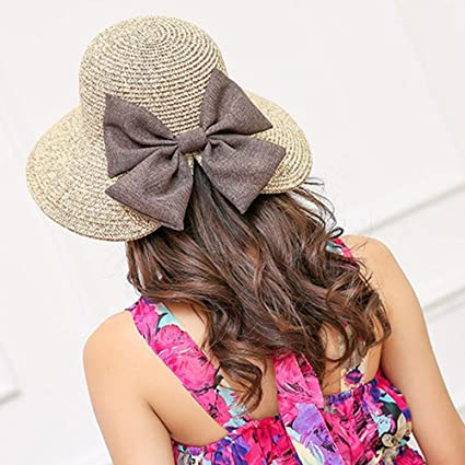c449b43e1a8 Aolvo Women s Crocheted Straw Sun Beach Hat UPF50 Foldable Boater Hat Full  Brim Summer Hat Fedora Bucket Hat Split Roll up Bowler Hat Packable Cap  with ...