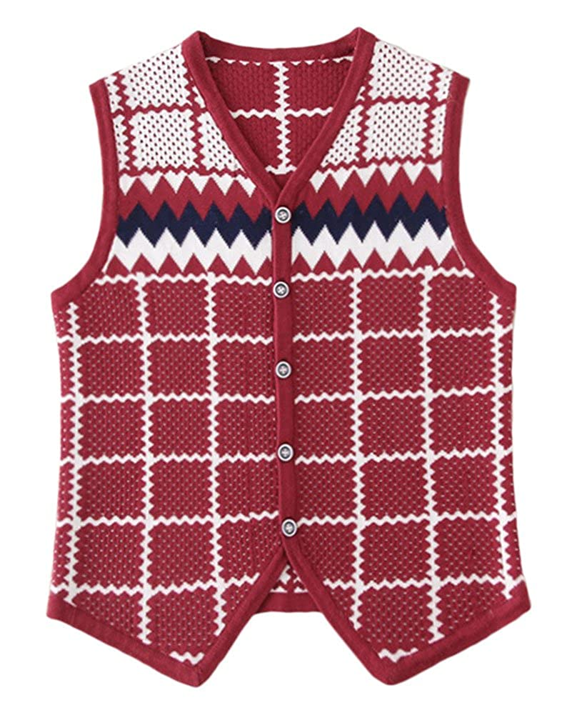 ezShe Boys Plaid Buttoned Sleeveless Sweater Vest