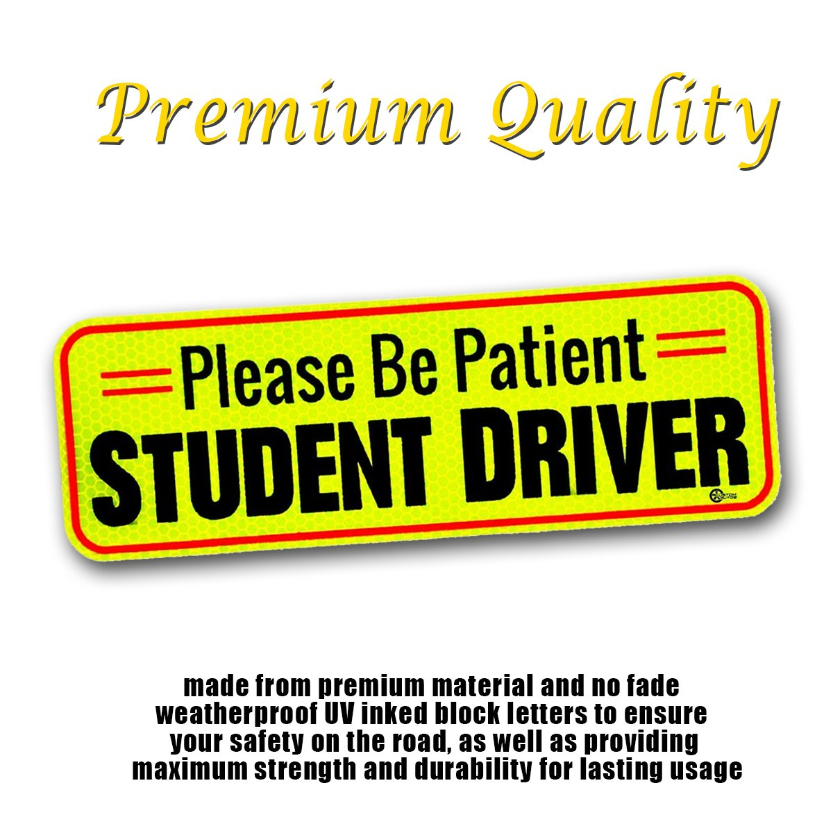 VaygWay Car Student Driver Magnet- Driver Bumper Decal Side Magnet- Please Be Patient Student Driver- Reflective Sign 1 Pk Auto- Kids Teens Beginners Safety Sign Custom Autos SDDF