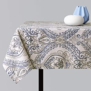 jinchan Linen Textured Table Cloth Jacobean Floral Printed Table Cloth for Kitchen Flax Linen Textured Medallion Design (1 Panel 51