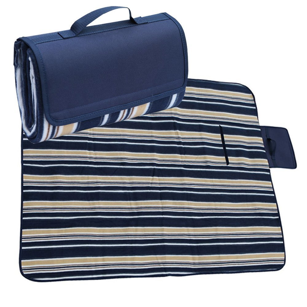 APOLLO WALKER Extra Large Picnic Blanket Tote 80''x 60'' with Waterproof Backing For Outdoor Picnic Camping(Blue)