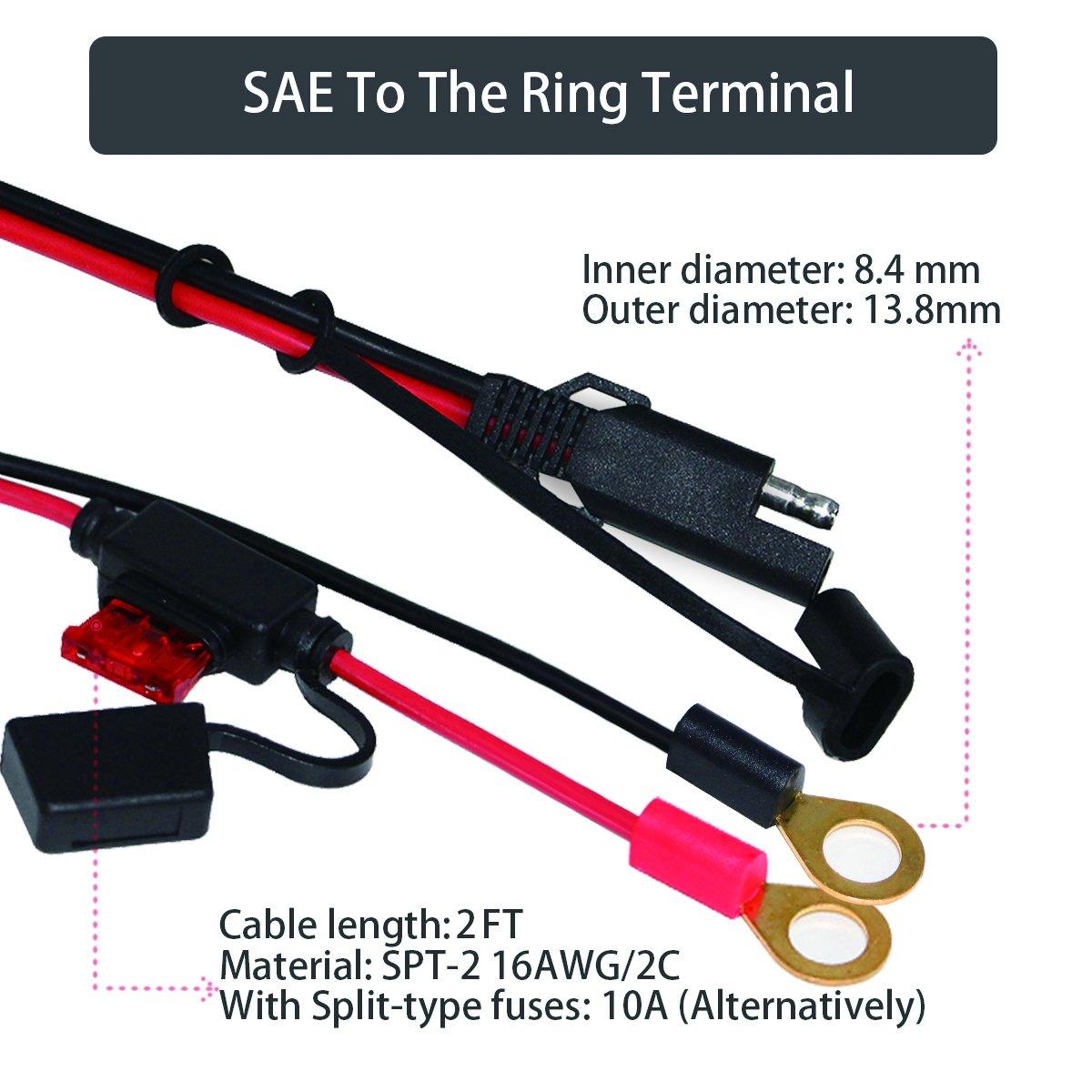 Amazon.com: KUNCAN Ring Terminal Harness 2 Pin Lug Cable SAE To ...