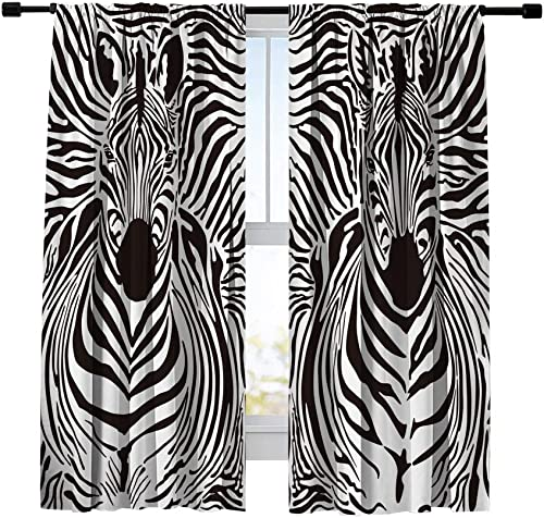 Misscc Thermal Insulated Blackout Curtains,Zebras Skins and Heads Pattern Window Treatments Drape