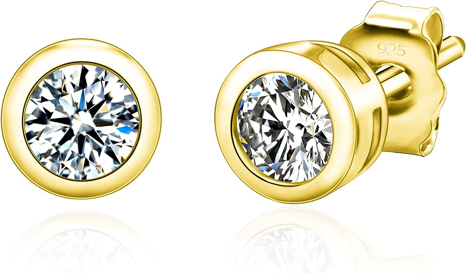 Spoil Cupid 14k Gold Plated Sterling Silver Cubic Zirconia Round Bezel Set Stud Earrings, 3mm Stone