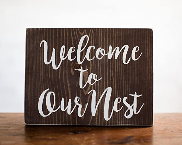 Wood Sign Home Decor Welcome To Our Nest | Entry Decor | Welcome Sign | Gift