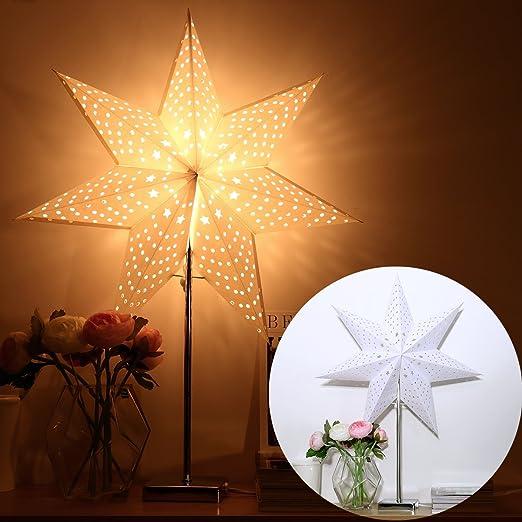 YUNLIGHTS Papierstern Lampe Leuchtstern Weihnachtsstern Lampe Weihnachtsdekoration Stern Stehleuchte Stehlampe 7 Zacken 67cm mit 2 St/ück Lampenschirm