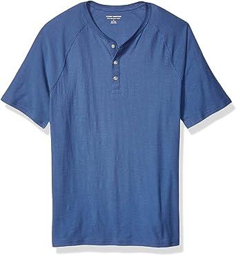 Amazon Essentials - Camiseta ajustada de manga corta estilo henley hecha de algodón flameado para hombre: Amazon.es: Ropa y accesorios