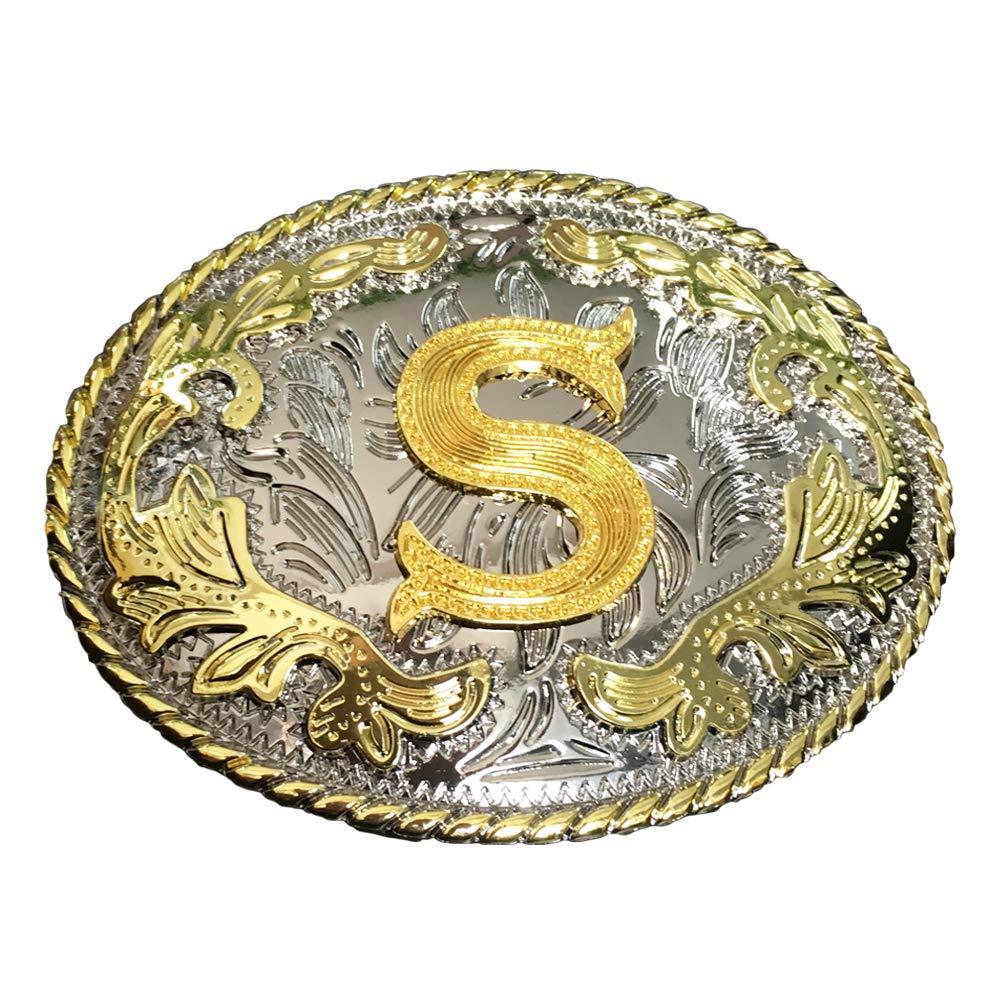 BYM Western Style Cowboy Alphabet Initial Letter Large Belt Buckles For Men