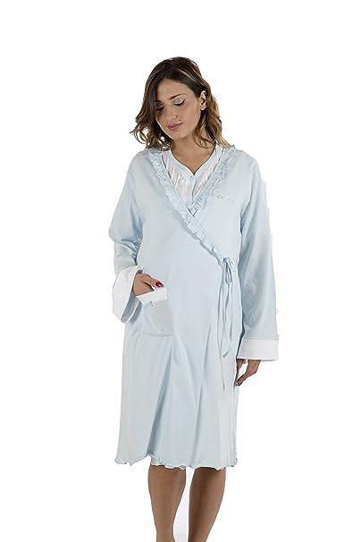 Premamy - Mujer Bata Premamá Para Embarazo y Lactancia - Color: Azul - Tamaño: