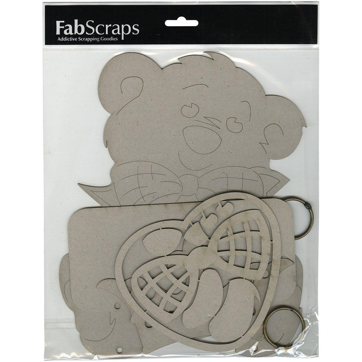 Fabscraps Cardboard Die-Cut Gray Chipboard Plaque-Teddy Bear, 10.5-inch x 8.5-inch DC70001