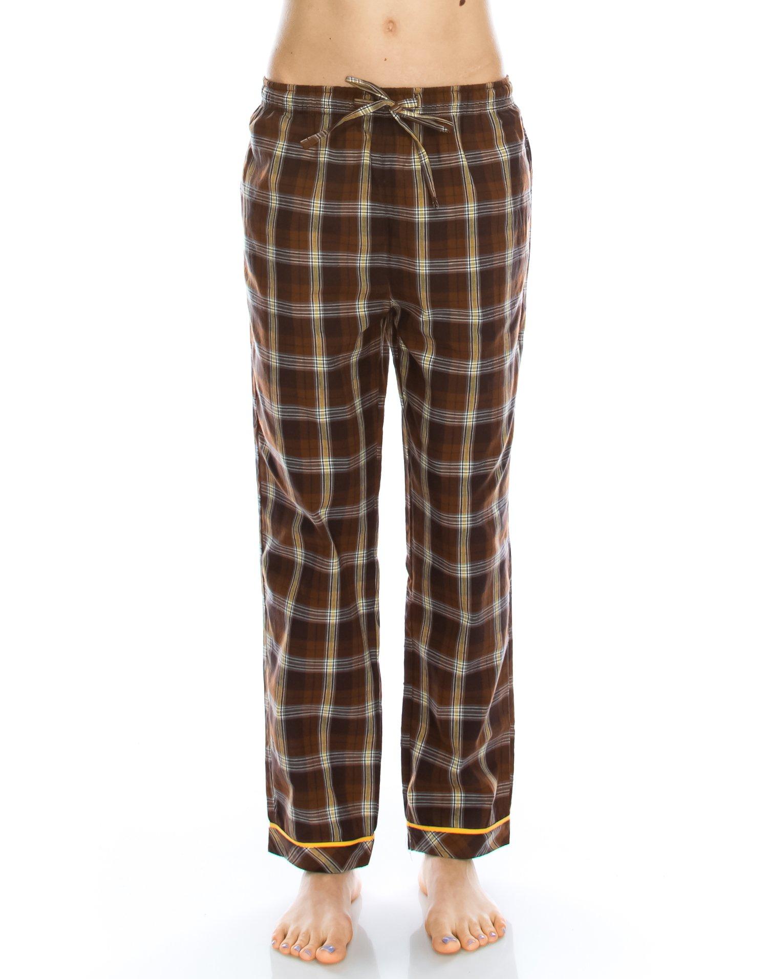 TINFL Girls Soft 100% Cotton Pajama Lounge Sleep Pants PW-01-Darkbrown-L