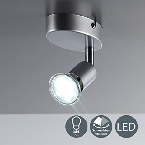 Lámpara de techo orientable incl. 1 bombilla LED GU10 de 3 WI Color de la luz blanco cálido 3000K I Metal I Color titanio I 230 VI IP20 I Foco de ...