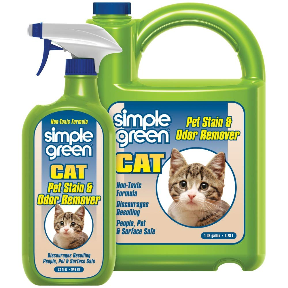 SIMPLE GREEN Cat Stain & Odor Remover - Enzyme Cleaner for Cat Urine, Feces, Blood, Vomit (32 Ounce Sprayer and 1 Gallon Refill)