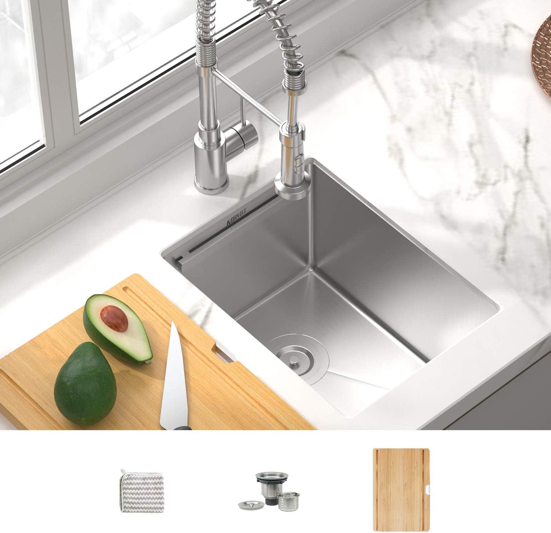 KORVOS Kitchen Sink 14''x19'' Workstation Ledge, Handmade 16 Gauge SUS304 Stainless Steel Undermount Single Bowl Kitchen Sink with Bamboo Cutting Board