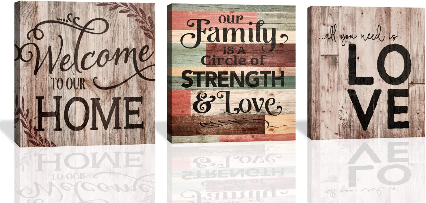 JLXART Vintage Wood Board Welcome Toour Home Family Love Decor 3 Panels Bedroom Bathroom Living Room Wall Decoration Ready to Hang Canvas Print Size :14x14inch