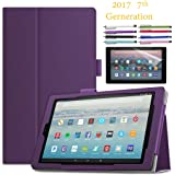 """EpicGadget Amazon Fire HD 10"""" Case (2017) With Auto Sleep/Wake, Fire HD 10 7th Gen Stand Lightweight Cover PU Leather Case For 2017 Fire HD 10 + 1 Screen Protector and 1 Stylus (Purple)"""
