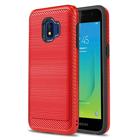 cheap for discount b0020 47636 Phone Case for [Samsung Galaxy J2 CORE (Metro PCS)], [Modern Series][Red]  Shockproof Brushed Cover [Impact Resistant][Defender] for Samsung Galaxy J2  ...