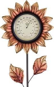 Regal Art & Gift 12325 Flower Thermometer Copper Garden Stake