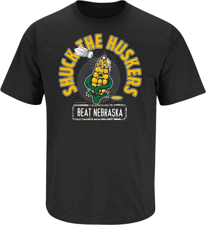 Iowa Football Fans 4XL Shuck The Huskers Sm-5X Black T-Shirt