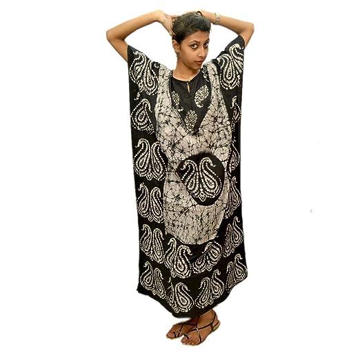 2225cc79da081 Odishabazaar Womens Cotton Caftan Nighty White Black Batik Kaftan Maxi Dress