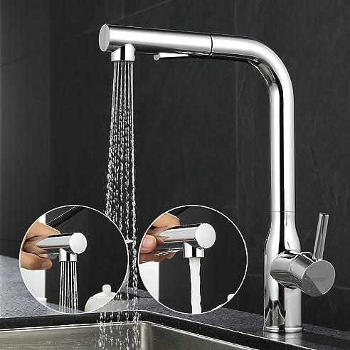ubeegol 360° drehbar Ausziehbare Küchenarmatur Wasserhahn Küche ...