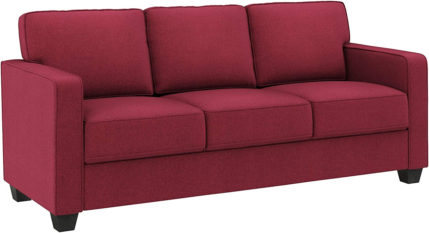 VASAGLE Sofa, Couch for Living Room Modern Upholstered, Cotton-Linen Surface, 78.7 x 32.3 x 35.4 Inches, Red
