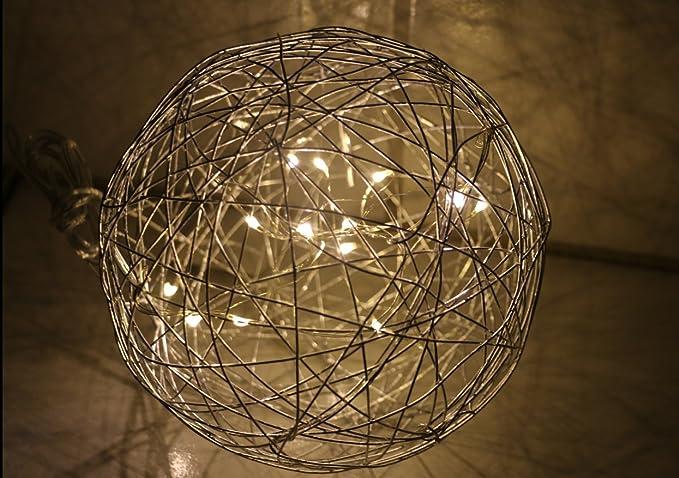 15 cm filo sfera argento colori con 10er catena di luci led da
