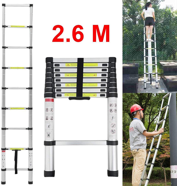 Feidak - Escalera telescópica (2,6 m, extensible, multiusos, plegable, de aluminio, 9 peldaños, ligera, certificado EN131): Amazon.es: Bricolaje y herramientas