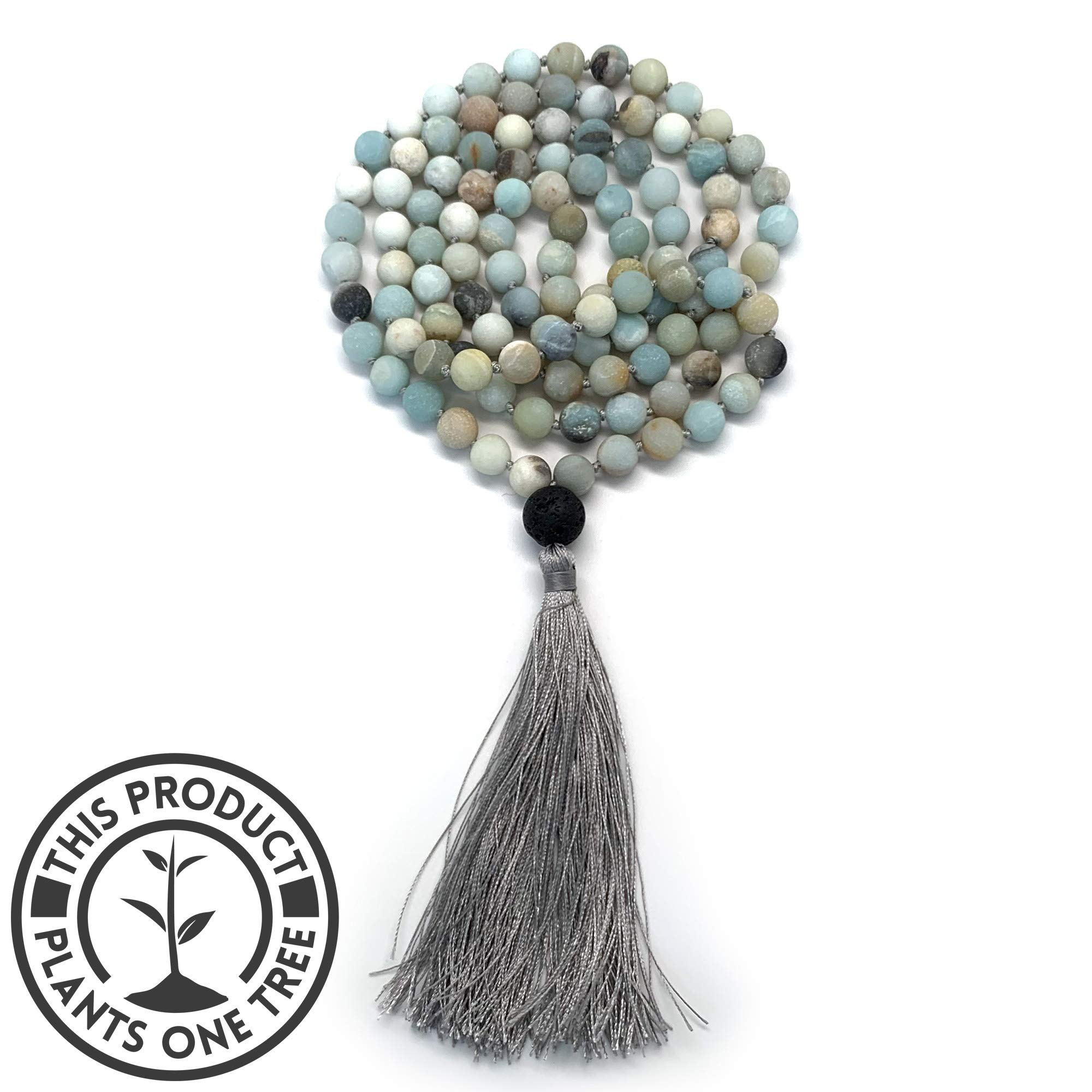 108 Bead Mala Necklace & Bracelet With Tassel By Aspen & Eve - 8mm Stone Beads - Strand 108 Beads Necklace For Mindfulness & Yoga (Matte Amazonite) by Aspen & Eve