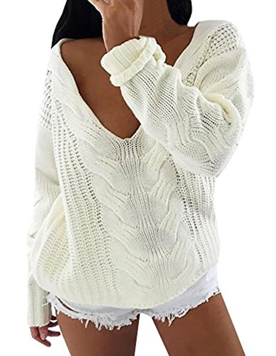 Liyuandian Womens Off The Shoulder Cable Pullover Sweaters V Neck Oversized White Knit Tops