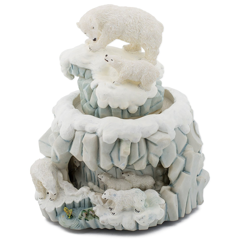 ファッションの ダブルRevolving Musicボックス: B00AKLHSZY Polar Bear – with Cub