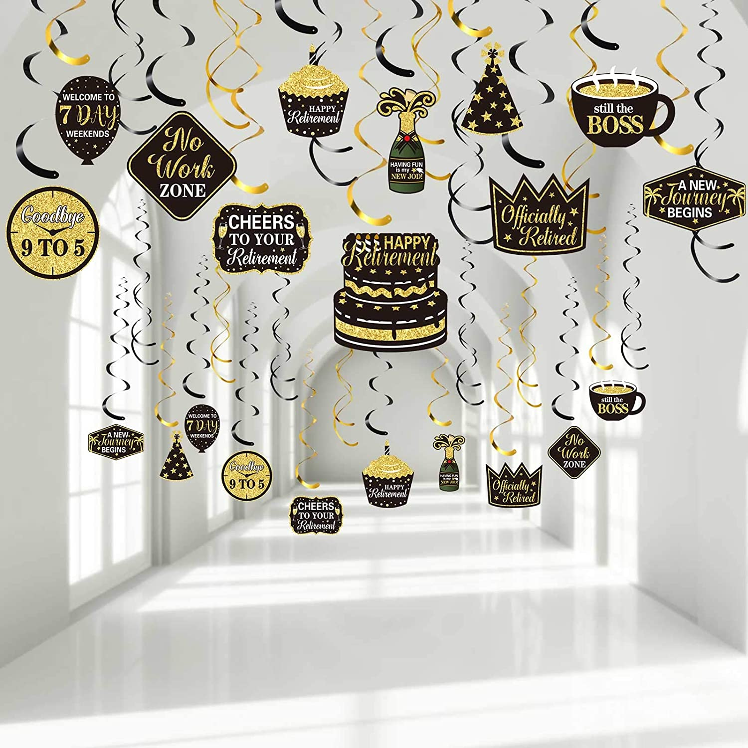 30 Pieces Retirement Party Hanging Swirls Decorations, Happy Retirement Office Retirement Swirls Decorations Black Gold Foil Ceiling Decorations for Men Women Retirement Party Indoor Outdoor Supplies