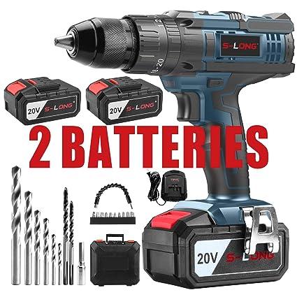 Amazon.com: Taladro inalámbrico con 2 baterías de 3000 mAh y ...
