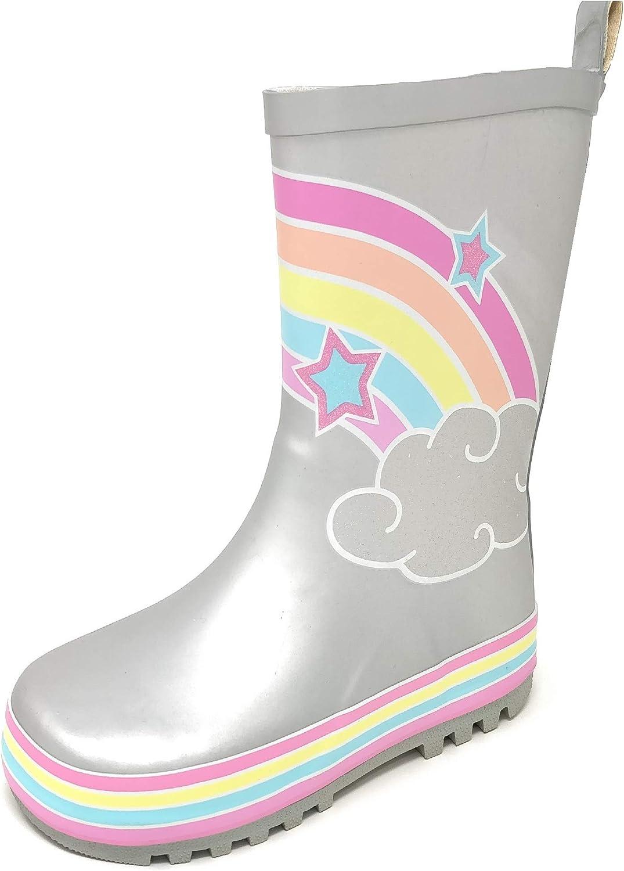a met/à Polpaccio con Glitter 3D Stivali di Gomma da Pioggia per Bambini