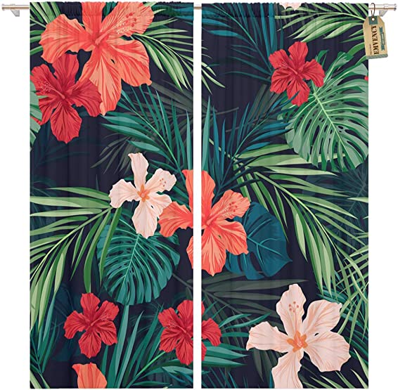 Golee Window Curtain Red Summer Colorful Hawaiian Tropical Plants and Hibiscus Flowers Home Decor Pocket Drapes 2 Panels Curtain 104 x 96 inche