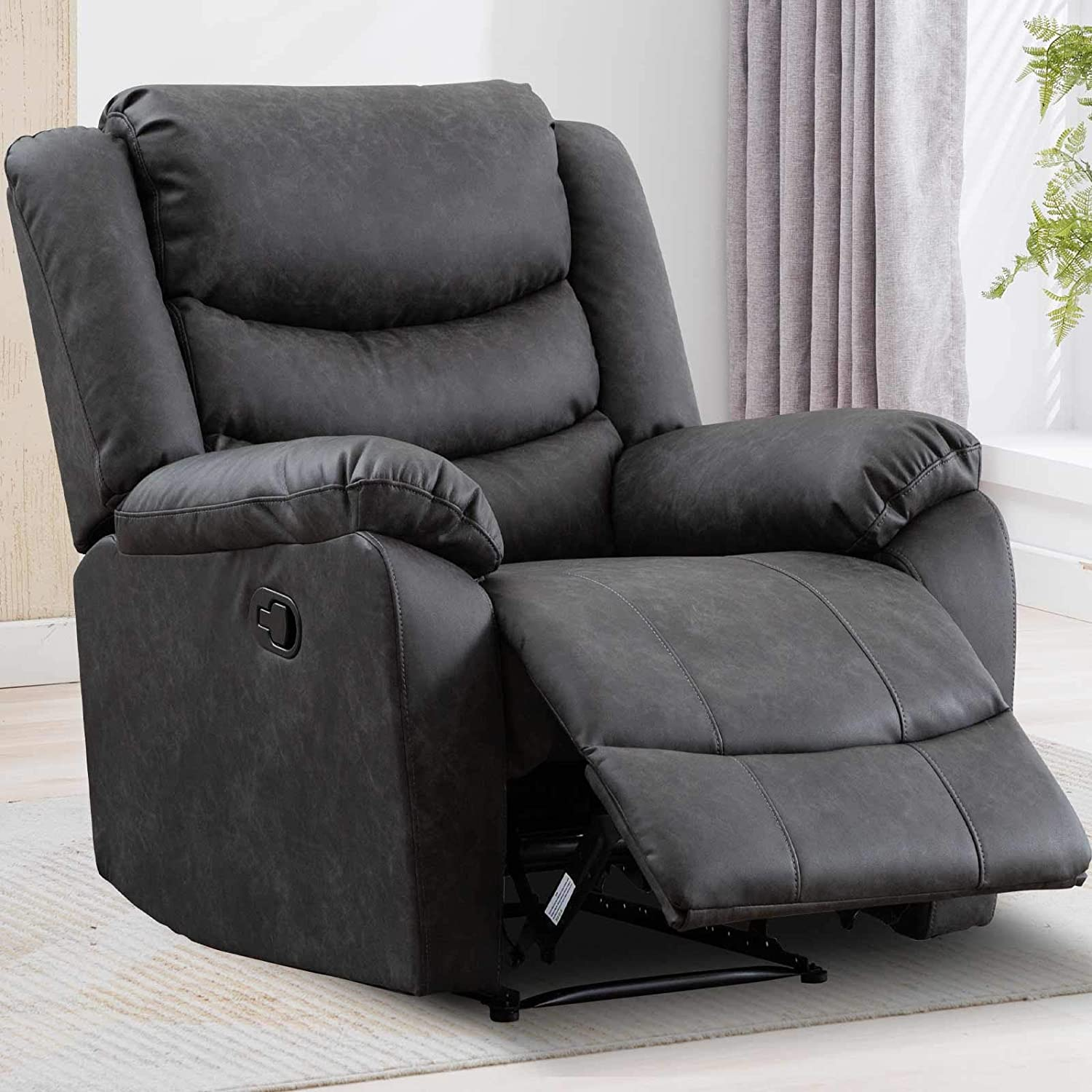 ANJ HOME Recliner Chair with Overstuffed Arm and Back, Classic Recliner Single Sofa Home Theater Seating (Gray)