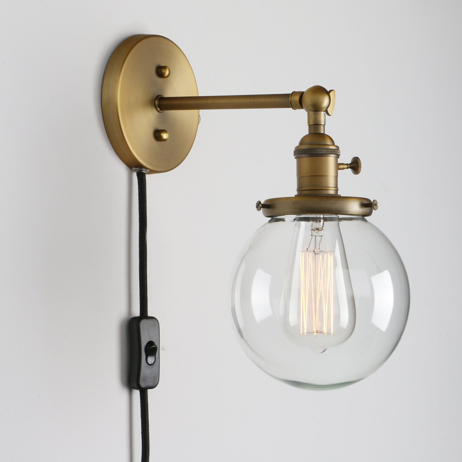 Permo 1-Light Plug In On/Off Switch Wall Sconce with Mini ...