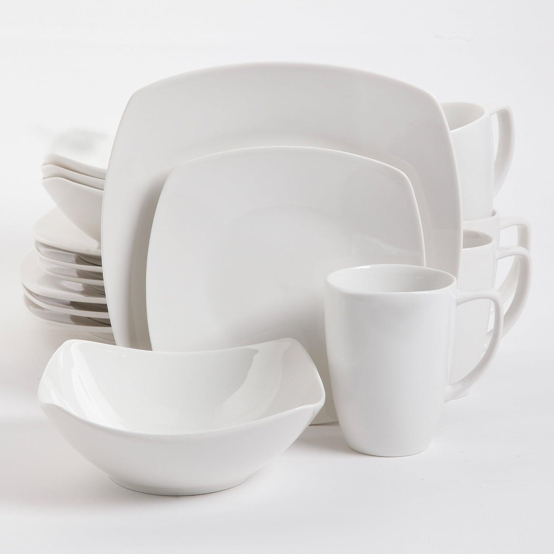 Gibson Home Zen Buffetware 16 Piece Dinnerware Set, White