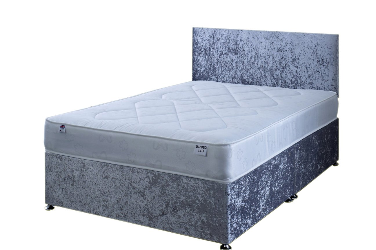 4FT6 Double Silver Crushed Velvet Divan Bed Set Including Deep Quilt Mattress And Headboard In2Bed LTD