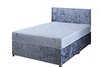 quality design 5a534 208be 3FT Single Silver Crushed Velvet Divan Bed Set Including ...