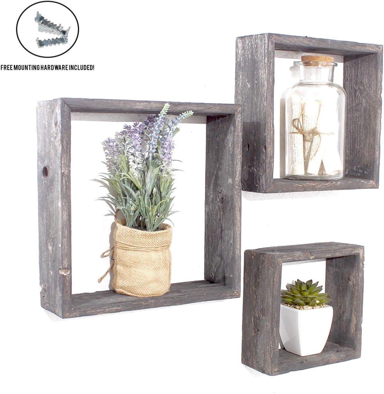 BarnwoodUSA Black Rustic Shelves, Square Floating Wood Shadowbox, Home Decor, Set of 3
