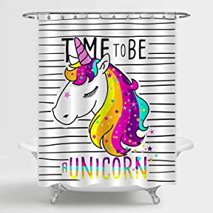 MitoVilla Magical Unicorn Shower Curtain Set with Hooks for Kids Girl Bathroom Decor, Cute Cartoon Rainbow Unicorn Artwork for Women and Girls Unicorn Gifts, 72
